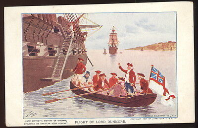 1907 Jamestown Exposition Post Card, The Flight Of Lord Dunmore