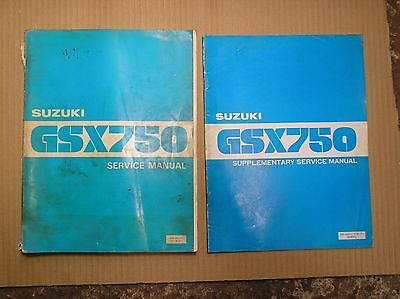 Suzuki GSX 750 GSX750 T Dec 1979 genuine workshop manual SR8010 +supplement USED