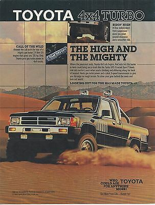 Toyota 4X4 Turbo 1986 1987 Print Advertising Truck Ad High and Mighty