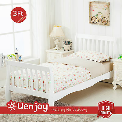 New White 3FT Single Bed in Sleigh Design Bed Frame Finished Bedroom Furniture