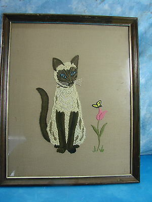 Vintage Siamese Cat Kitten and Flower with Butterfly Framed Needlepoint Picture