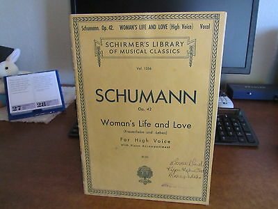 SCHUMANN SHEET MUSIC OP  42 WOMAN'S LIFE AND LOVE VOCAL FOR HIGH VOICE