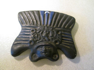 "Terra-cotta Mask Mexico Clay Inca Aztec Mayan Hand Painted 5"" Wide VGC Black"