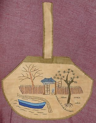 Vintage/Antique Small EMBROIDERED CHINESE TOTE BAG Gate, Trees, Boat, Water ++