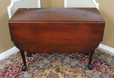 Antique American Mahogany Chippendale Drop Leaf Gate-Leg Dining Table c1820