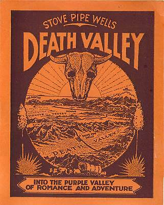 Death Valley California Stove Pipe Wells Vintage Tourist Travel Luggage Label
