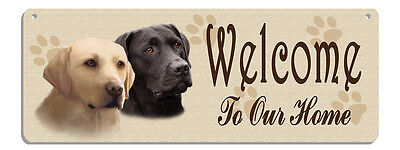 Labradors Black & Blonde Welcome Wall Sign Rustic Look Metal Plaque Outdoor Use