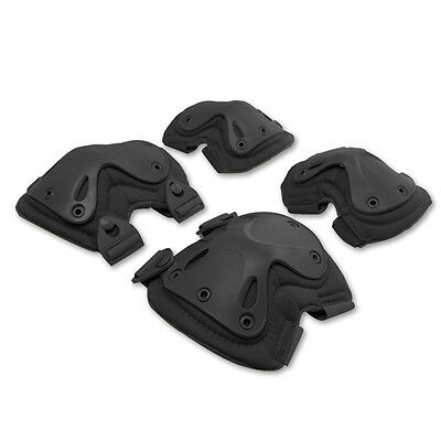 Skating Tactical Knee & Elbow Safety Support Protector Guard Pads Set - Black
