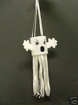 CRAFT Handcrafted Needlepoint Halloween Decor Hanging Ghost White .