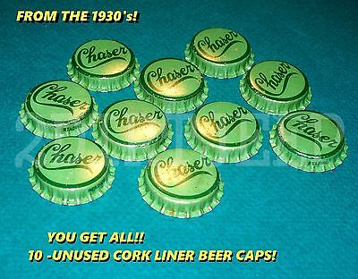 10 CHASER MIXER SODA LATE 1930's OLD VINTAGE DRINK POP CORK UNUSED BOTTLE CAPS )