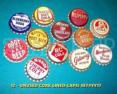 12 Assorted Flavor Soda Blueberry Sunburst Rc Set #yy17 Cork Unused Bottle Caps