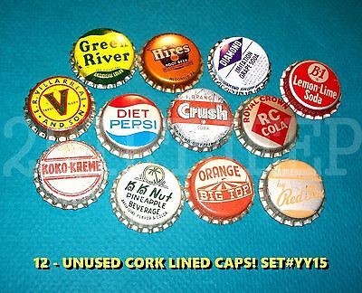 12 Assorted Flavor Soda Green River Rc Big Top Set #yy15 Cork Unused Bottle Caps