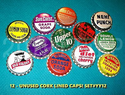 12 Assorted Flavor Soda Old Colony Mason Nehi Set #yy12 Cork Unused Bottle Caps