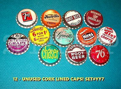 12 Assorted Flavor Soda Seven Up 76 & Chaser Set #yy7 Cork Unused Bottle Caps
