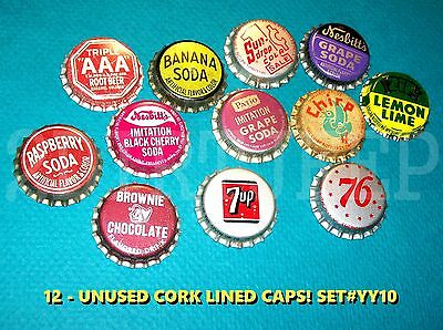 12 Assorted Flavor Soda Seven Up Patio & Chirp Set #yy10 Cork Unused Bottle Caps