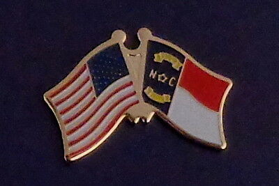 North Carolina State Flag & US Untied States Flags Crossed Lapel Pin USA NC
