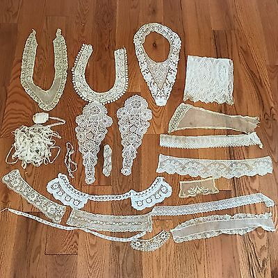 Victorian Vintage Antique LACE LOT Bobbin/Crochet COLLARS TRIM Ecru ~ Lovely ~