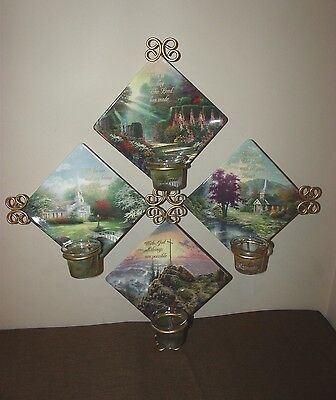 Limited Edition Thomas Kinkade Everlasting Faith 4 plate Set Metal Wall Hanger