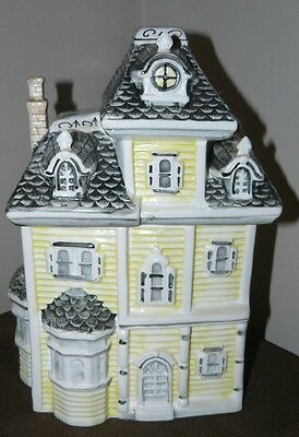 Unmarked Yellow & Gray Victorian House Shaped Collectible Ceramic Cookie Jar EUC