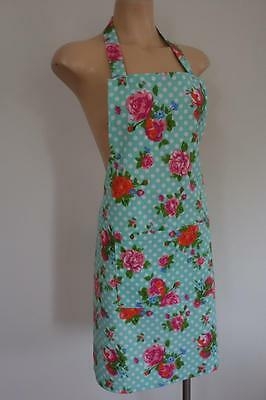 Pink Orange Roses Green Polka Dots Country Farm House 100% Cotton Women's Apron