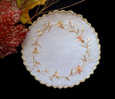 Antique Society Silk Embroidery SCOTTISH THISTLES  Hand-Embroidered Linen Doily