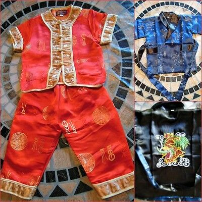 Toddler Satin Silky 2 Piece Red & Gold Set & Black/Blue Reversible Silk Cover Up