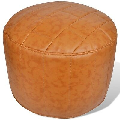 Foot Stool Leather Round Footrest Ottoman Seat Home Footstool Brown Chair Sofa