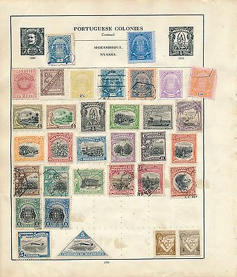 Early Portugal stamp collection colonies Mozambique Mocambique on page