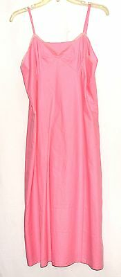 Vintage Pink Cotton Full Slip with Small Floral Lace Trimmed Bodice Size 40