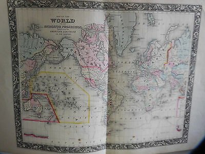 World On The Mercator Projection, Original Large Map, Mitchell's Atlas, 1861