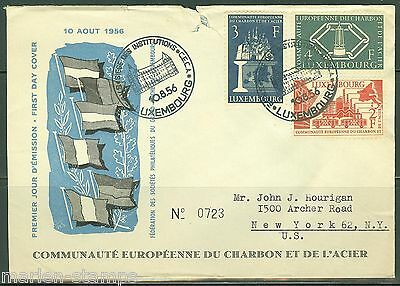 Luxembourg Coal & Steel 1956  Michel#552/54 First Day Cover Enevelope Torn  Top