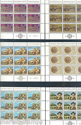 Yugoslavia  Lot Of   Europa Complete Sheetlets Of Nine Stamps  Each Mint Nh
