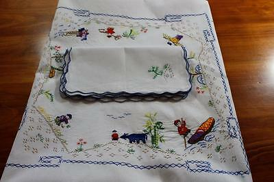 Vintage  Embroidered Cotton Tablecloth & 6 Napkins - Oriental Chinese Theme