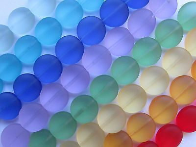 SEA GLASS BEADS 12mm Coin Green Royal Blue Yellow Red Purple 8 Strands