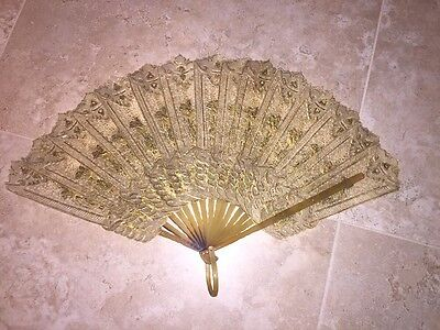 FAN ANTIQUE ASIAN Hand Held EXOTIC GOLD PAINTED ASIAN Flexible INTRICATE