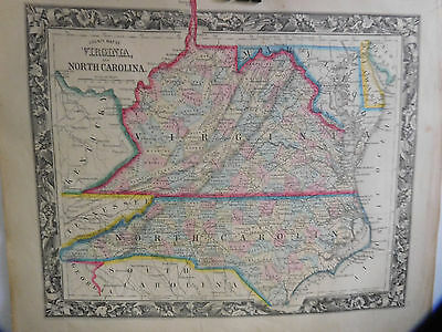 County Map Of Virginia & North Carolina, Mitchell's Atlas, 1861