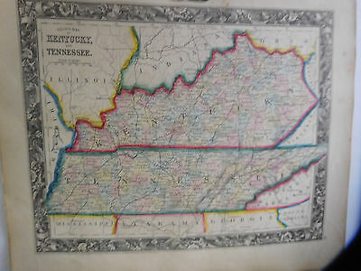 County Map Of Kentucky & Tennessee, Mitchell's Atlas, 1861