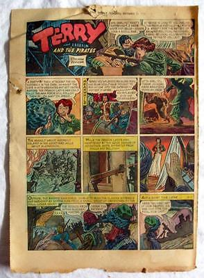 TERRY and THE PIRATES & ABBIE an SLATS ~ 1949 Newspaper Full Page Comic in Color