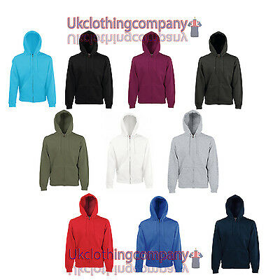 Men's Plain Full zipped hoodie - Fruit Of The Loom Classic Hooded Sweat Jacket
