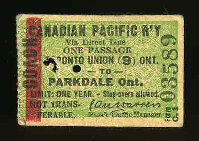 Canadian Pacific 1951 Train Coach Ticket Toronto Unon To Parkdale