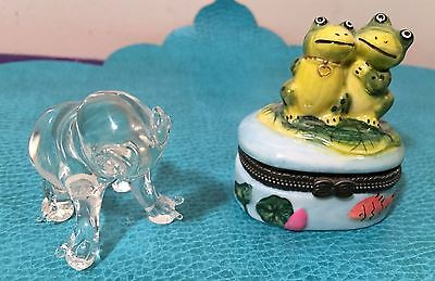 Lot of 2 Frog items, a small trinket box w/heart & a glass figurine