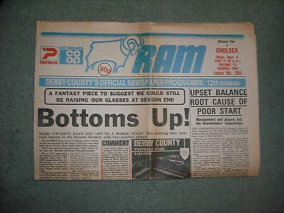Derby County  V  Chelsea  (Div 2)  8-9-82  Newspaper Issue