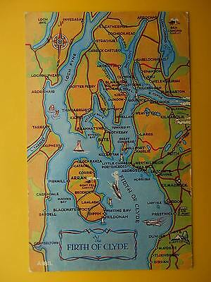 FIRTH OF CLYDE Isle of Arran Bute Cumbrae Map *Vintage* 1966 Standard Size
