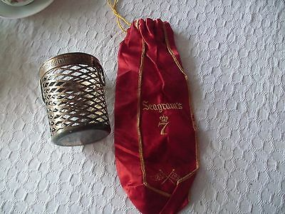 """Seagram""""s 7 Red Satin Bag 1857-1957 And Brass Holder Marked Seagram"""