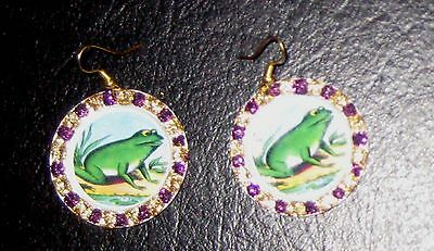 Pair Hand Painted w/ Glitter Kitschy FROG Bottle Cap EARRINGS from Mexico