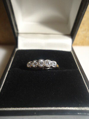 Super Antique DECO .30ct Diamond 18K Gold Platinum Eternity ring rubover setting