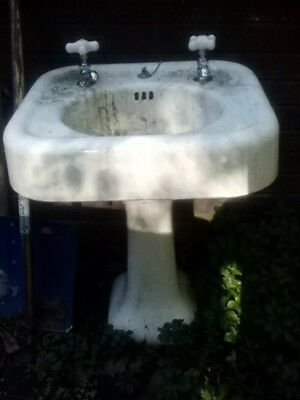 Rare Antique Vintage Pedestal Porcelain Cast Iron Sink Lavatory Bathroom Kohler