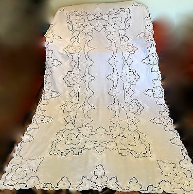 Vintage Embroidered Tablecloth Open Cutwork Banquet Size White 65 X 114 In.