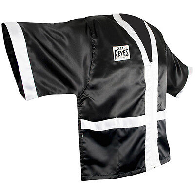 Cleto Reyes Corner Staff Satin Boxing Robe - Black/White
