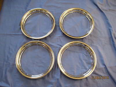 "Mg New Set Of 4  Mgb 14"" Rostyle  Stainless Steel Wheel Trims 1969 To 1980 ***O"
